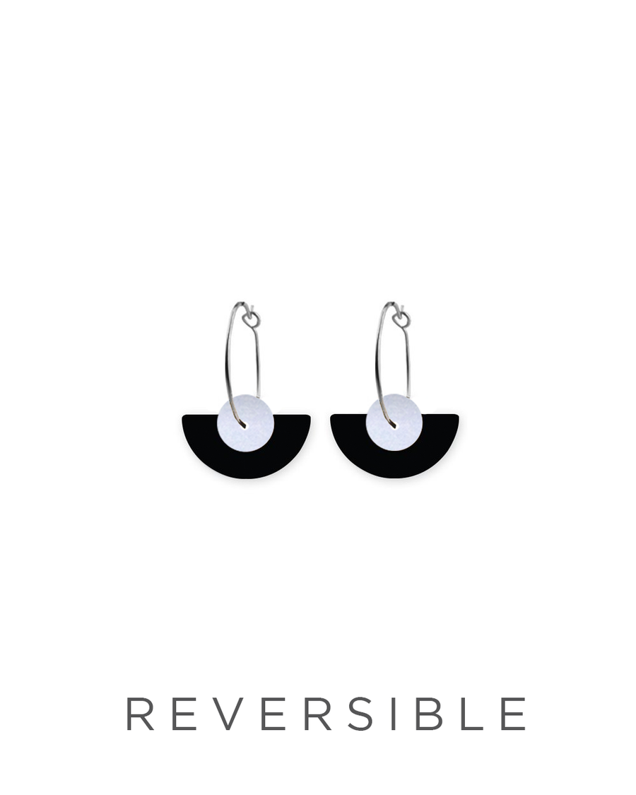 Reversible Black Layered Medium Moon Sleeper Earrings