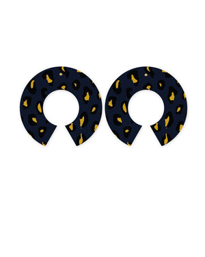 Navy Animal Print Big Halo Stud Earrings