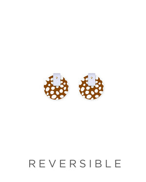 Speckles Pattern Layered Medium Circle Stud Earrings