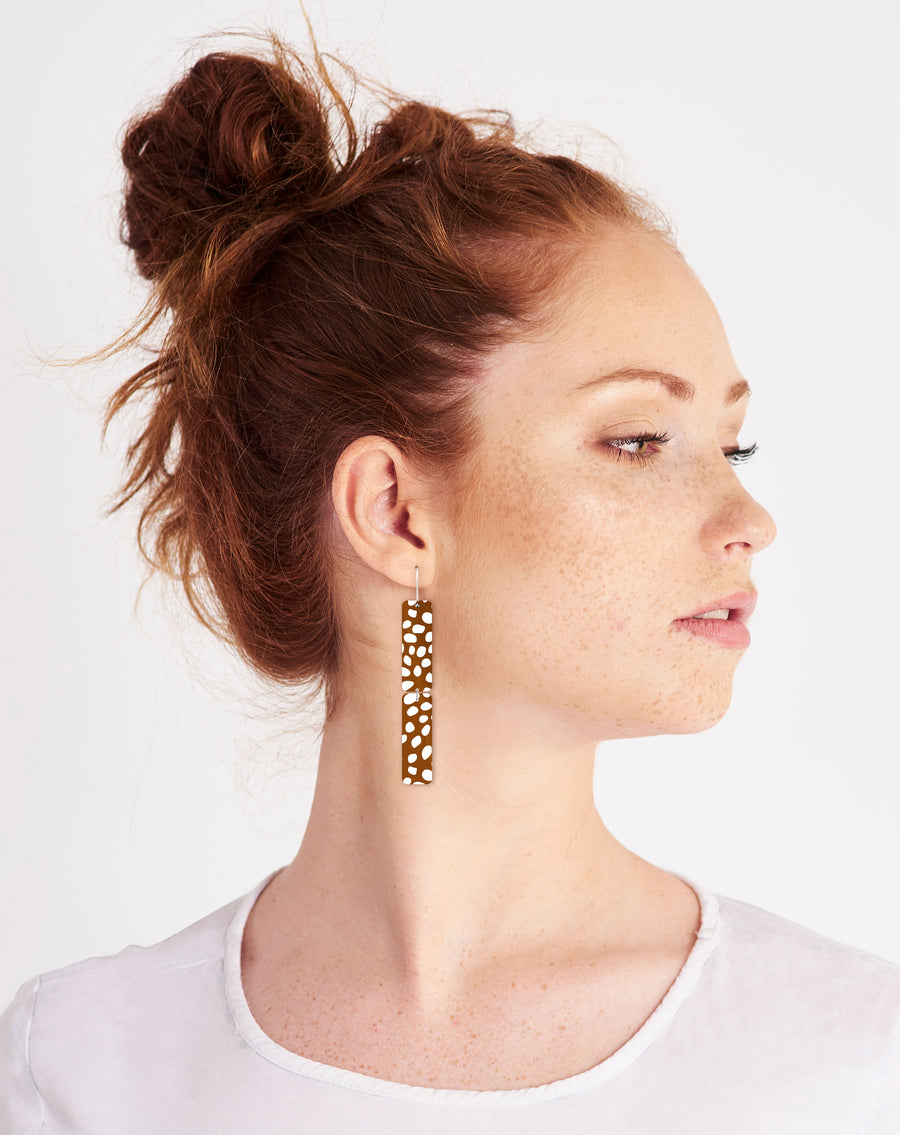 Speckles Pattern Rectangle Double Drop Earrings