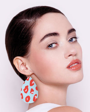 Red Lined Leopard Big Tear Drop Earrings