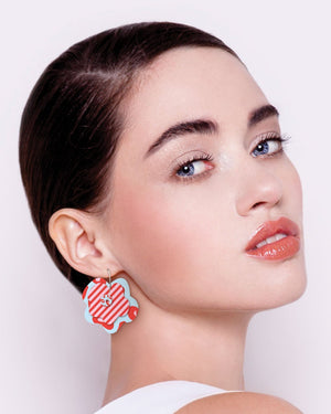 Red Lined Leopard Layered Big Flower Hoop Earrings
