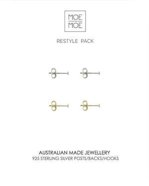 Sterling Silver Restyle Pack - Silver Studs and Gold Studs