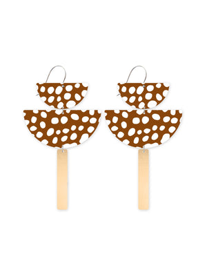 Reversible Speckles Pattern Chandelier Statement Drop Earrings