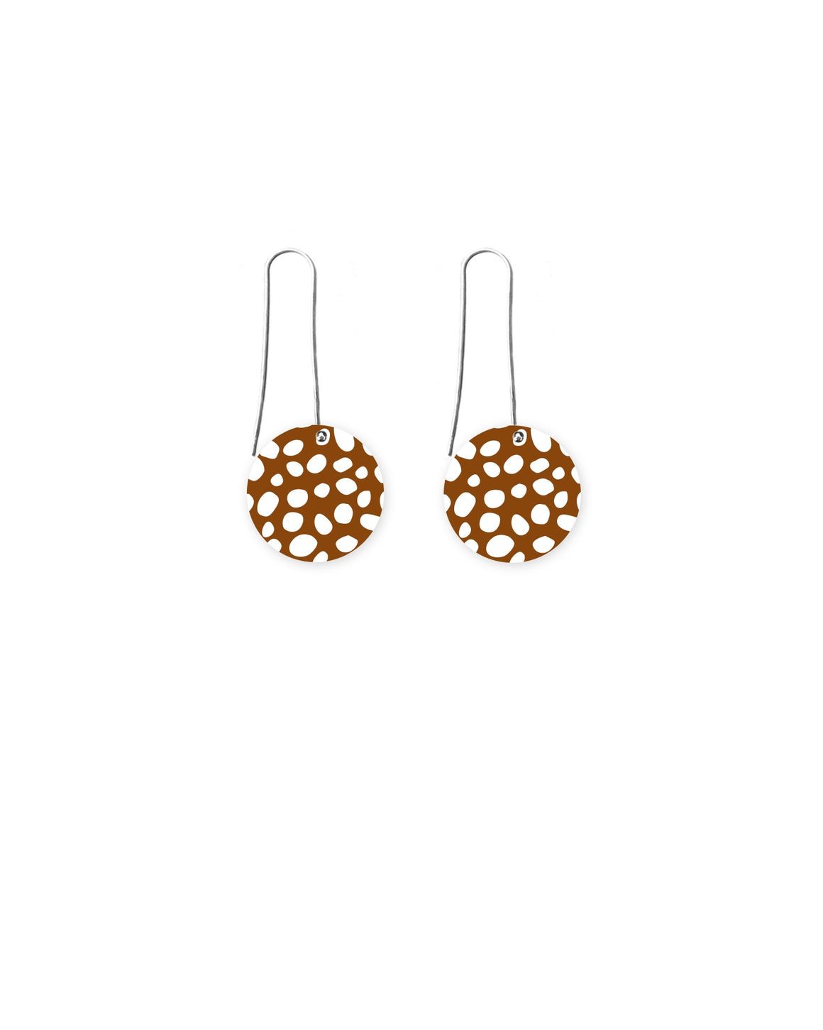 Reversible Speckles Pattern Circle Long Drop Earrings