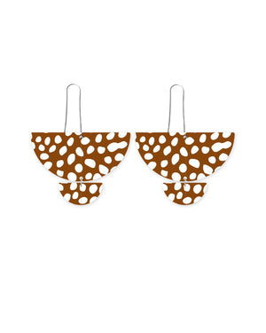 Speckles Pattern Statement Long Drop Earrings