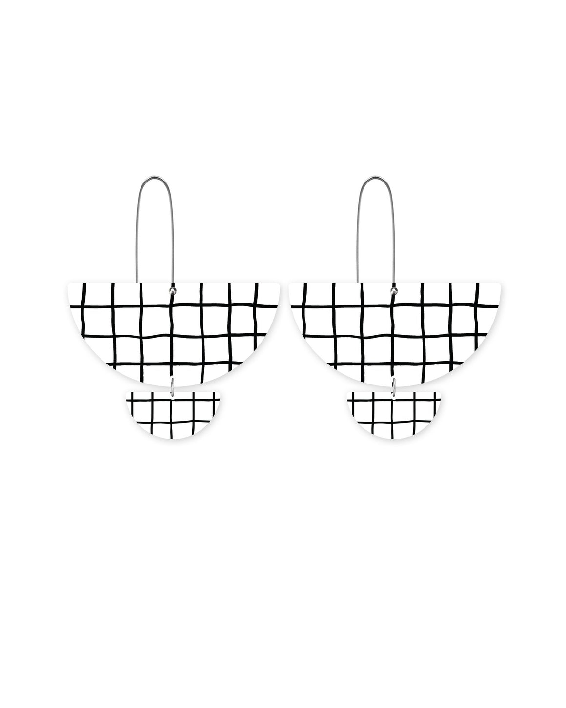 Grid Pattern Statement Long Drop Earrings