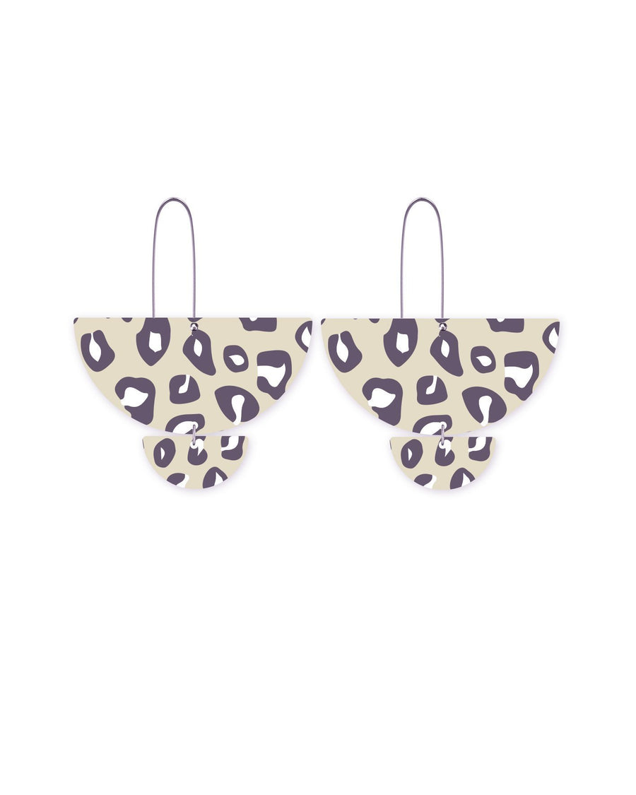 Reversible Latte Animal Print Statement Long Drop Earrings