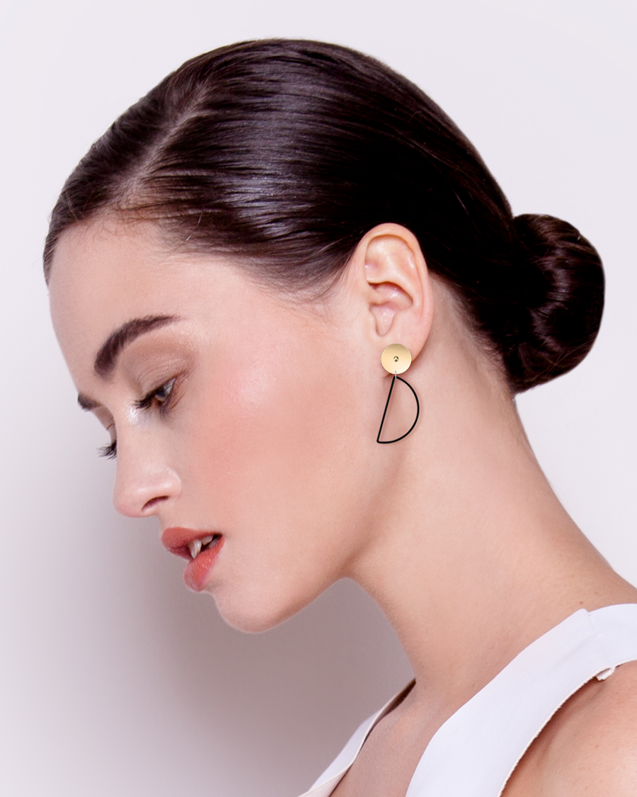 Mirrored Gold Signature Hanging Moon Stud Earrings