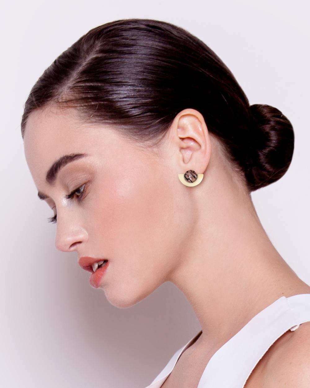 Storylines Miimi and Jiinda Layered Small Moon Stud Earrings