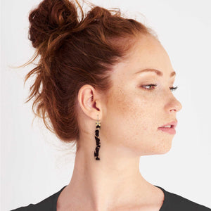 Tortoise Shell Layered Cross Squiggle Drop Earrings