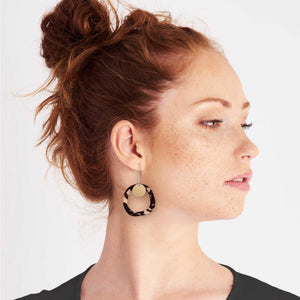 Tortoise Shell Organic Outline Long Drop Earrings