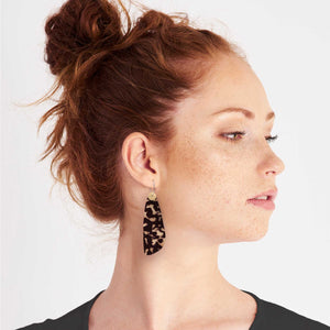 Tortoise Shell Layered Paddle Hoop Earrings