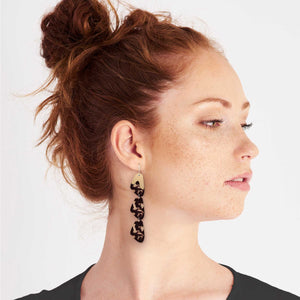Tortoise Shell Organic Pippi Drop Earrings
