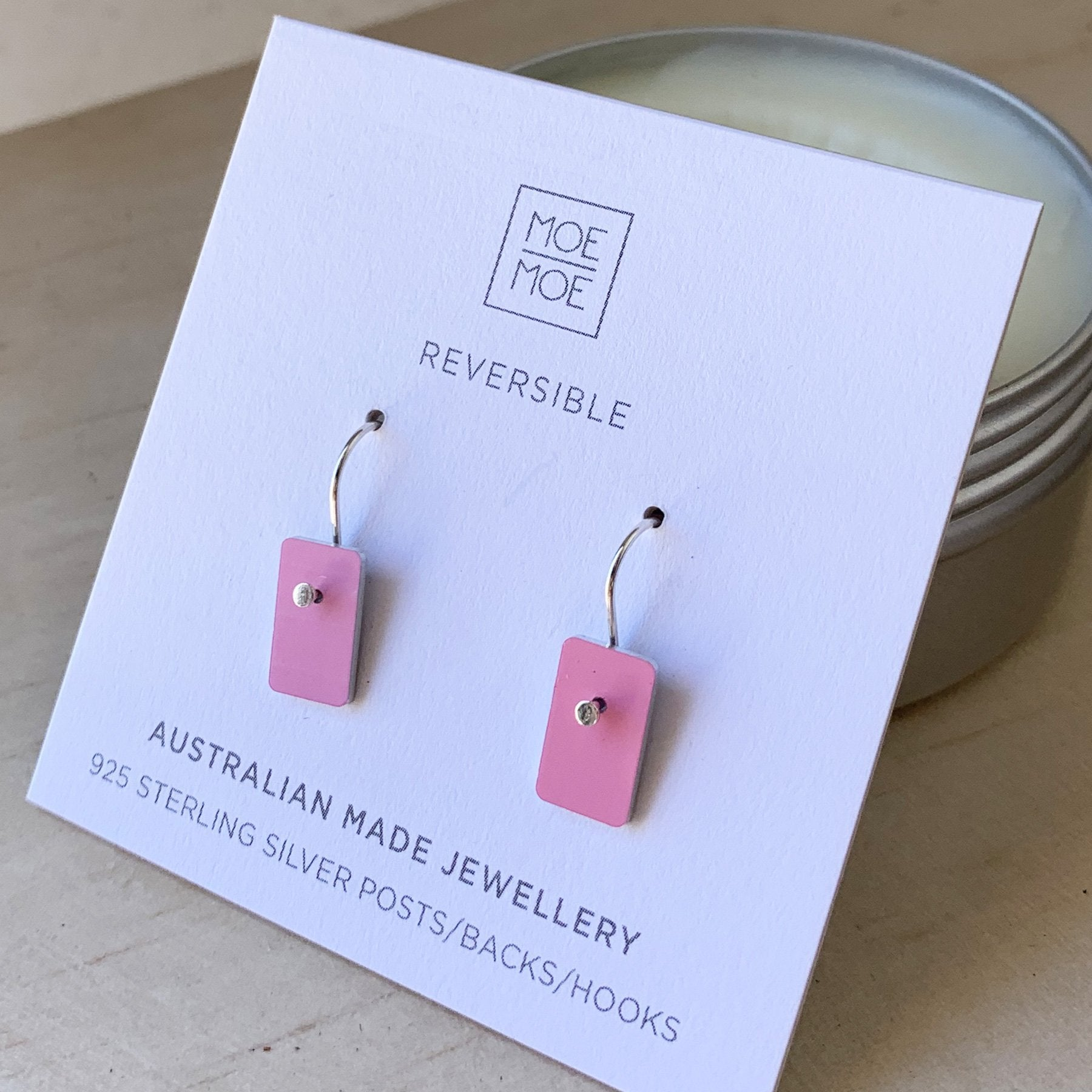 Baby Pink Mini Rectangle Drop Earrings