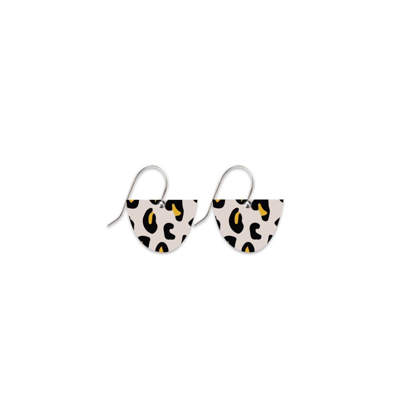 Black Lined Leopard Small Bell Drop Earrings