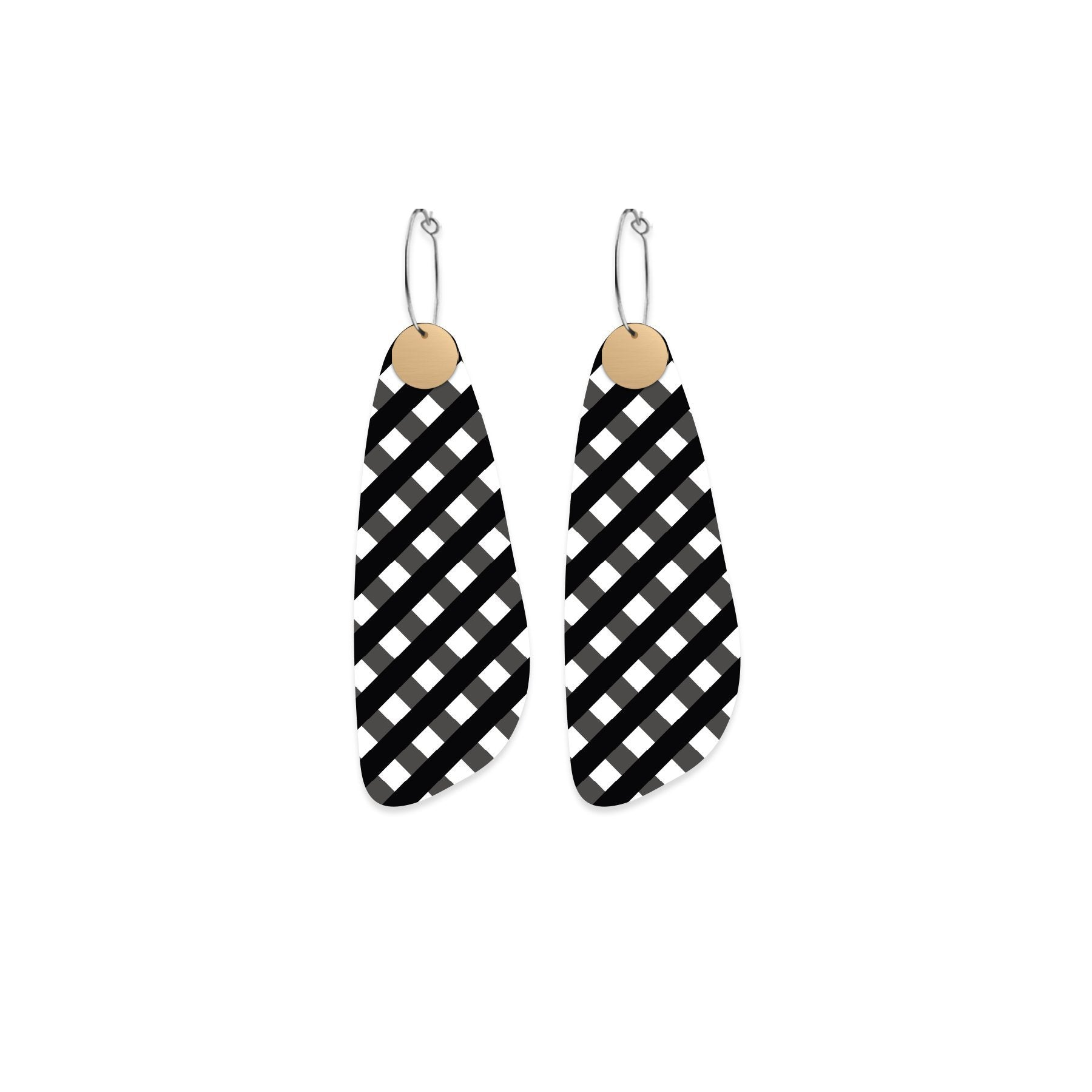 Ebony Striped Gingham Layered Paddle Hoop Earrings