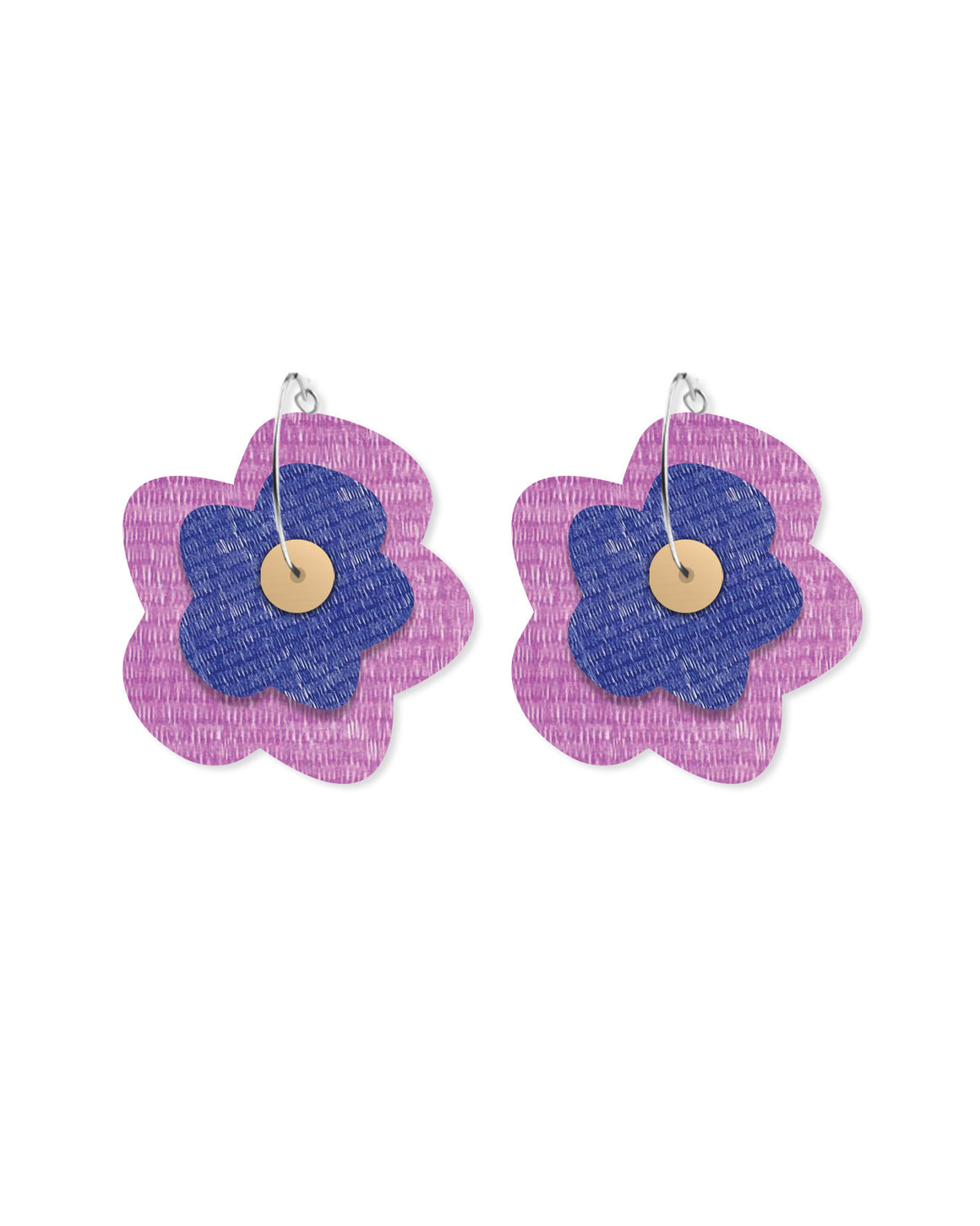 Lavender Candice Perese Layered Big Flower Hoop Earrings