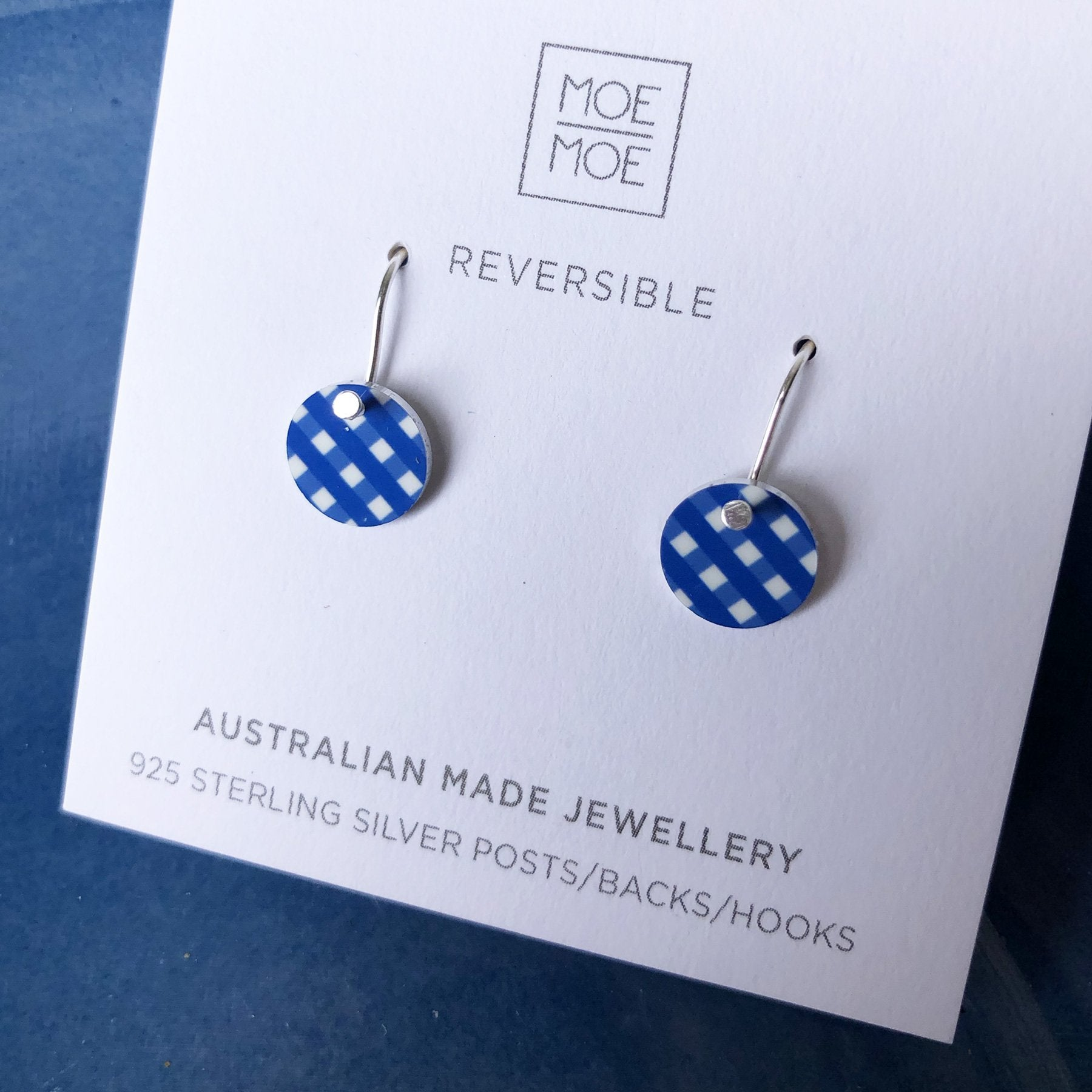 Cobalt Blue Gingham Mini Circle Drop Earrings