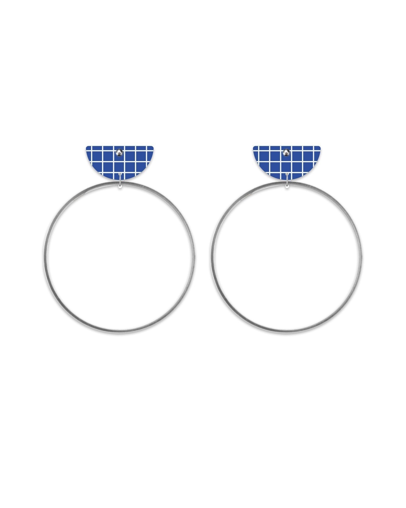 Cool Tones Grid Moon Ring Stud Earrings