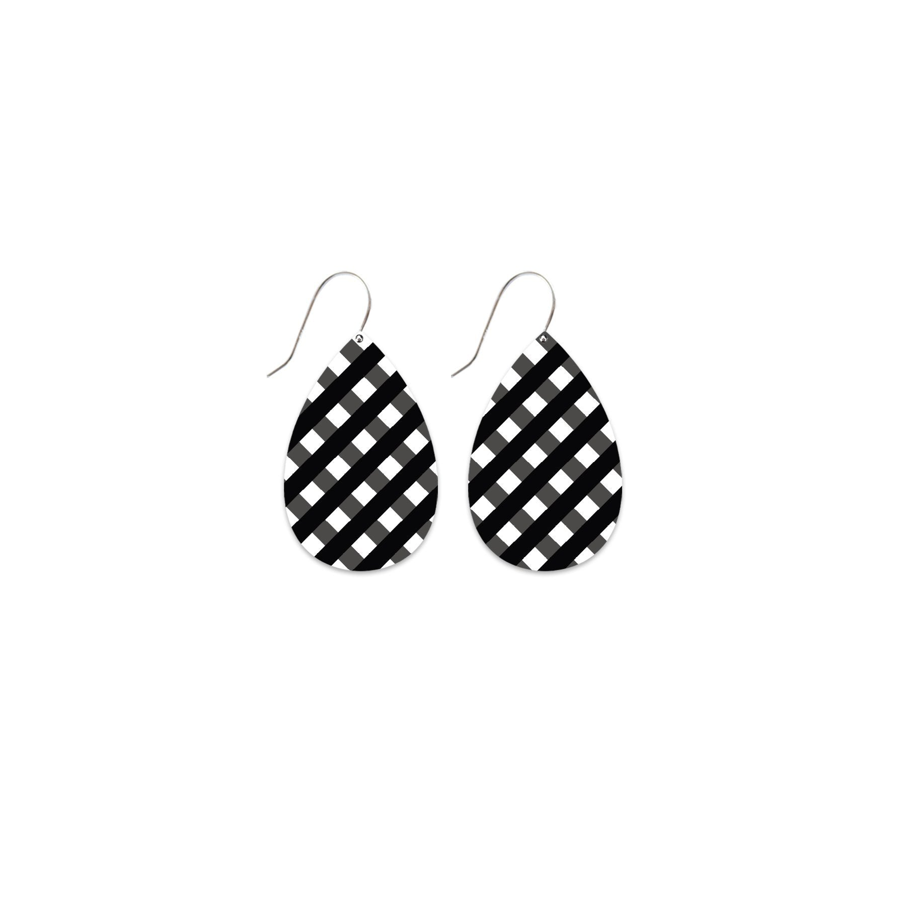 Ebony Striped Gingham Medium Tear Drop Earrings