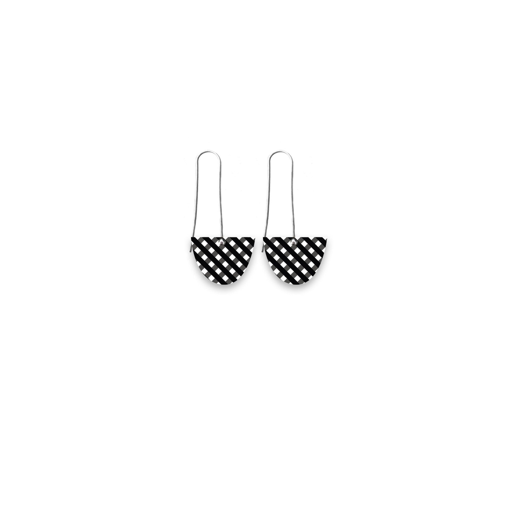 Ebony Striped Gingham Small Bell Long Drop Earrings