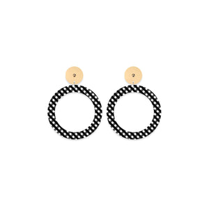 Ebony Striped Gingham Circle Outline Stud Earrings