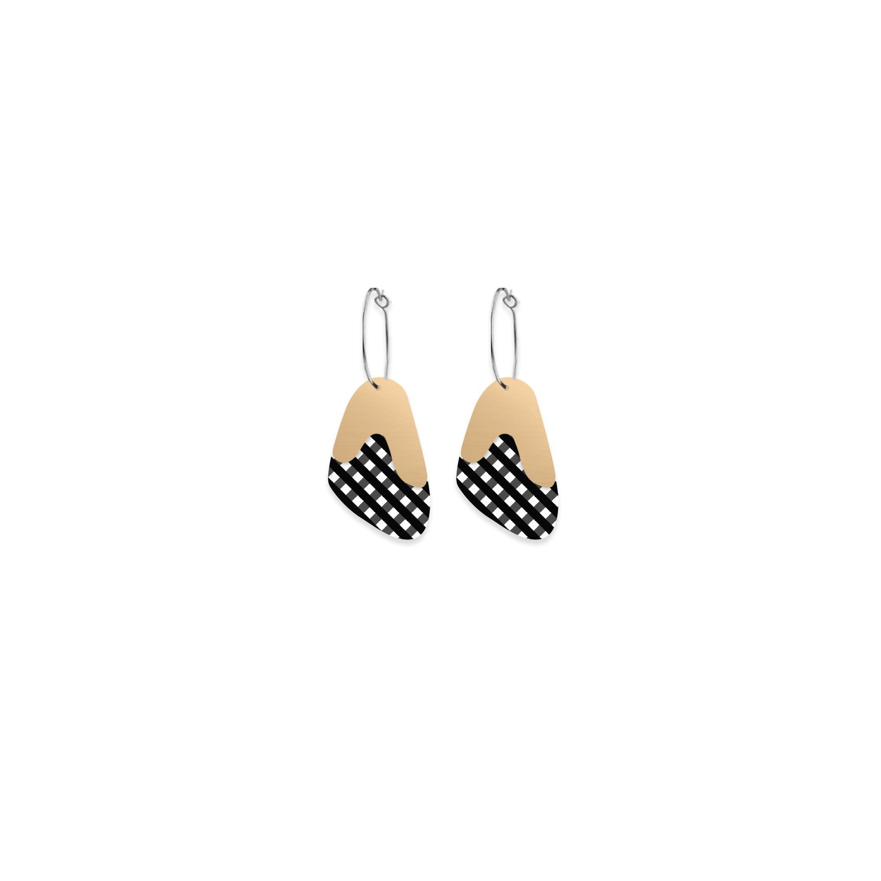 Ebony Striped Gingham Layered Pippi Hoop Earrings