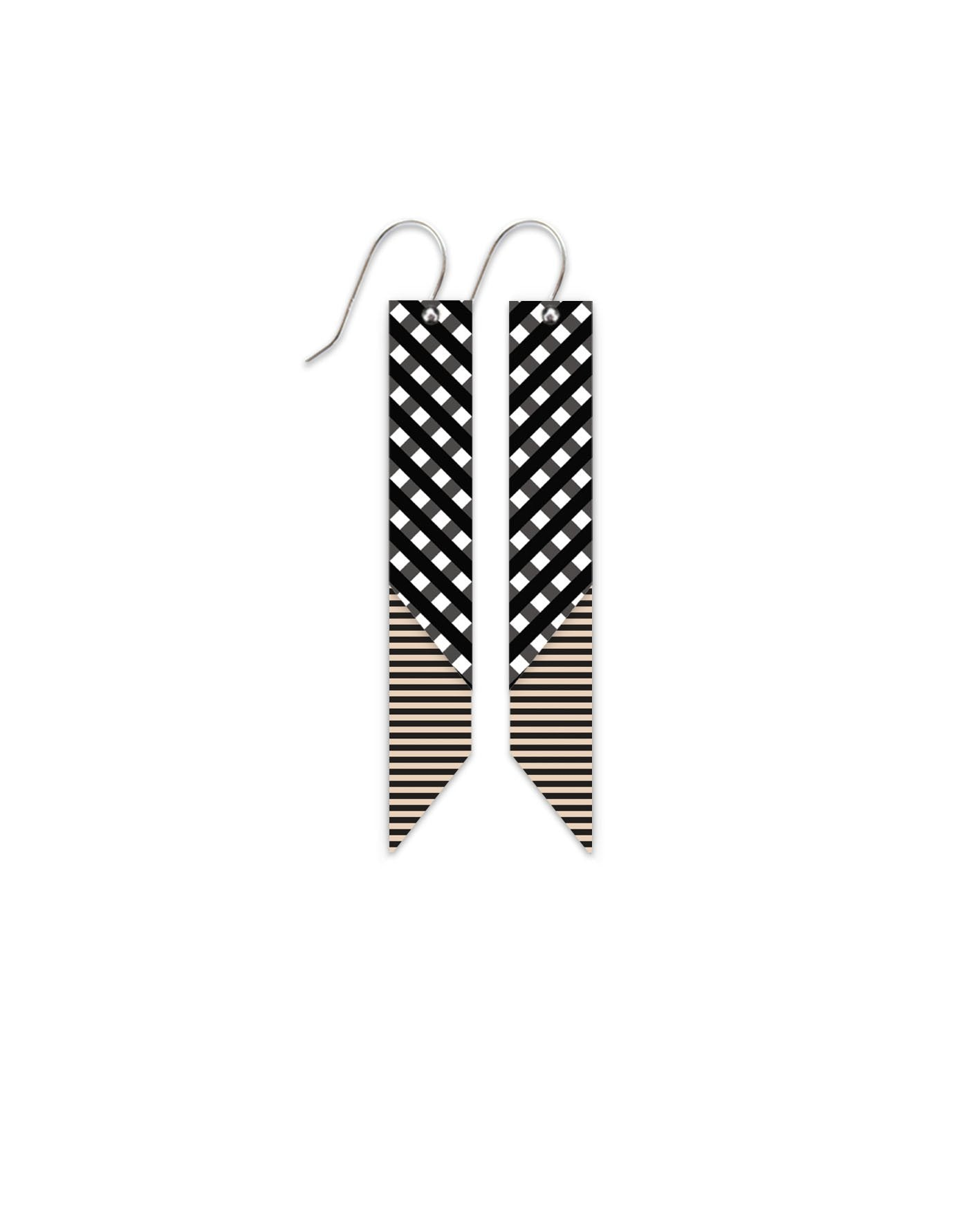 Ebony Striped Gingham Layered Angled Bar Drop Earrings