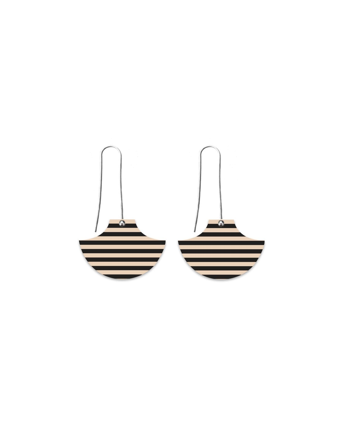 Ebony Stripe Long Drop Earrings