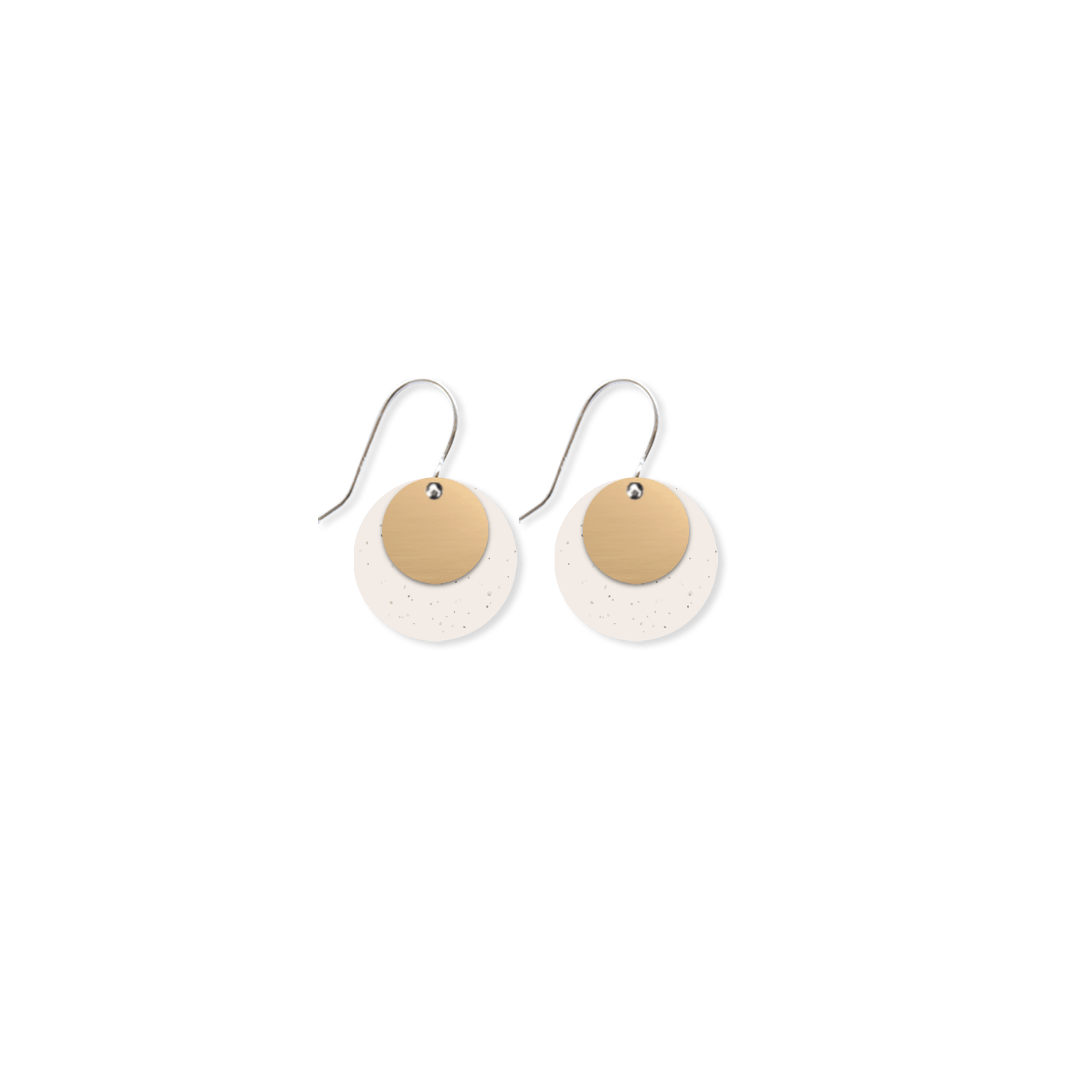 Flaxen Clay Layered Circle Drop Earrings