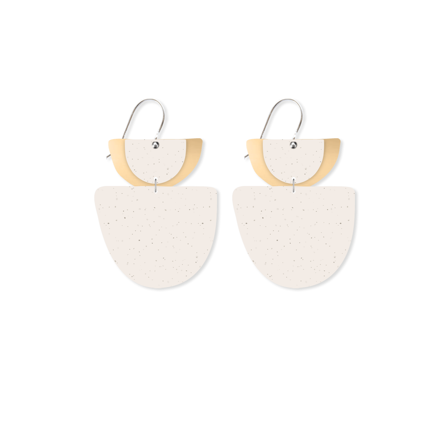 Flaxen Clay Layered Double Bell Drop Earrings