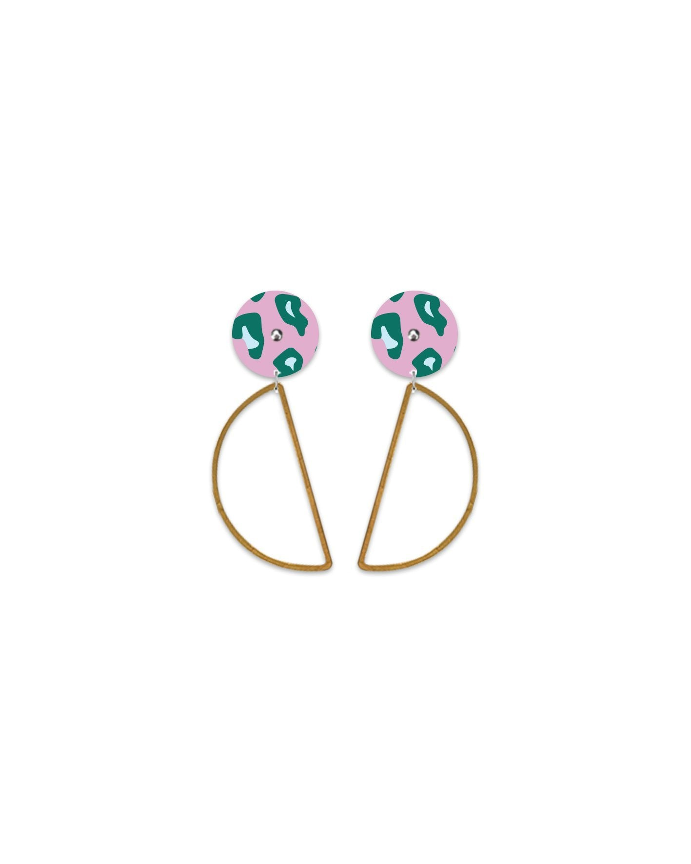 Green Lined Leopard Hanging Moon Stud Earrings