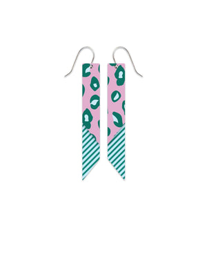 Green Lined Leopard Layered Angled Bar Drop Earrings