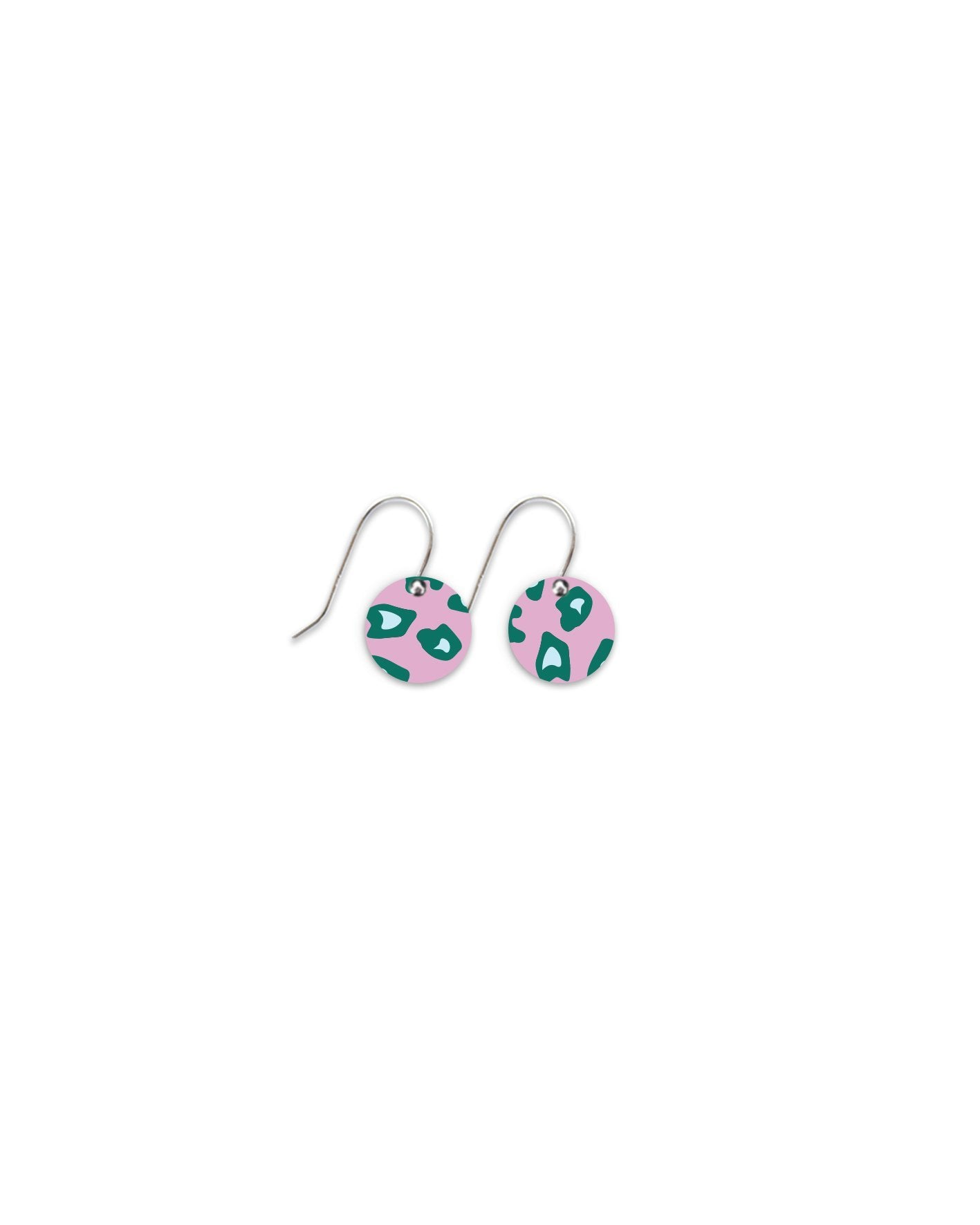 Green Lined Leopard Small Circle Drop Earrings