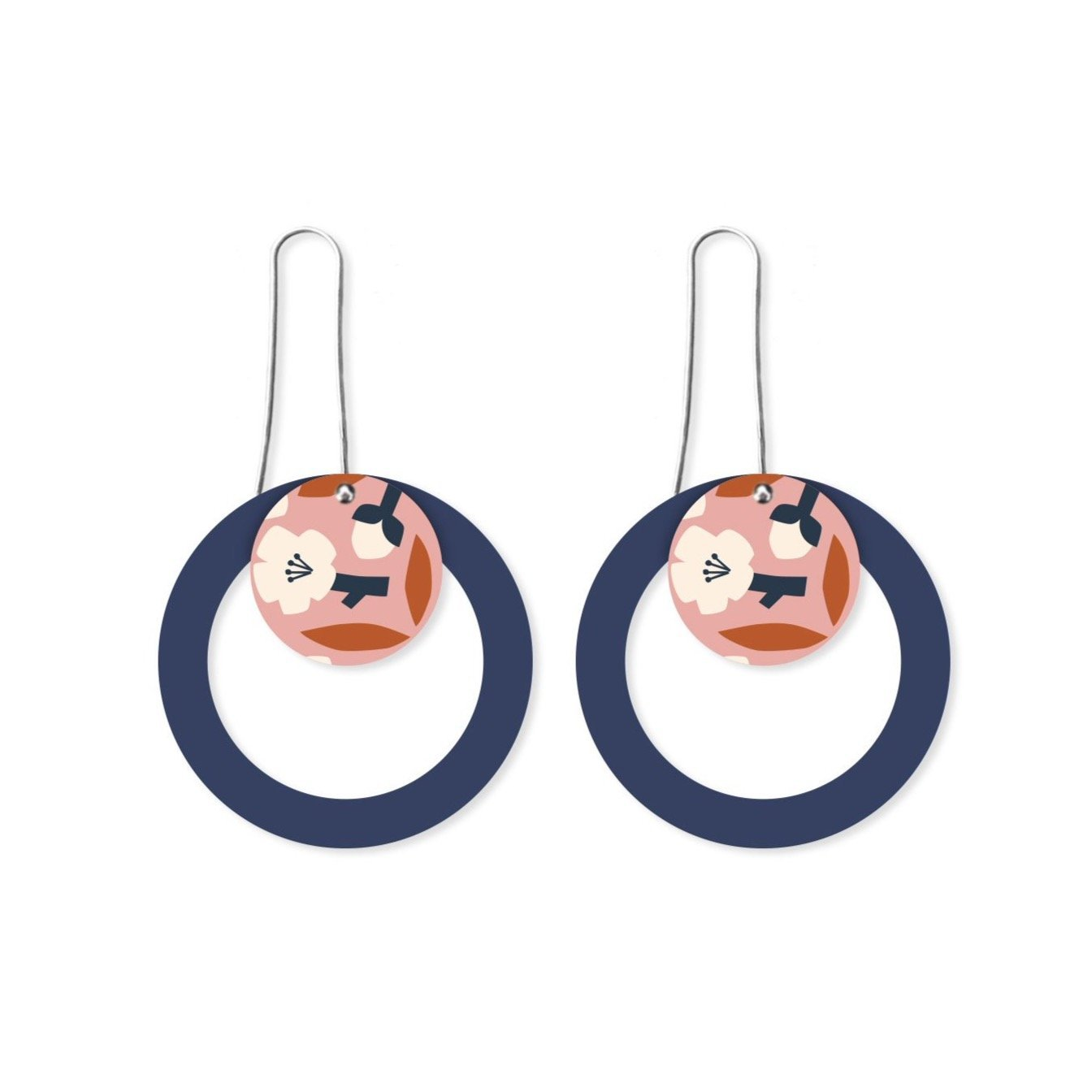 Peach Blossom Myriam Van Neste Layered Circle Outline Long Drop Earrings