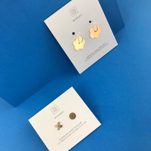 Mirrored Gold Signature Hugs and Kisses Stud Earrings