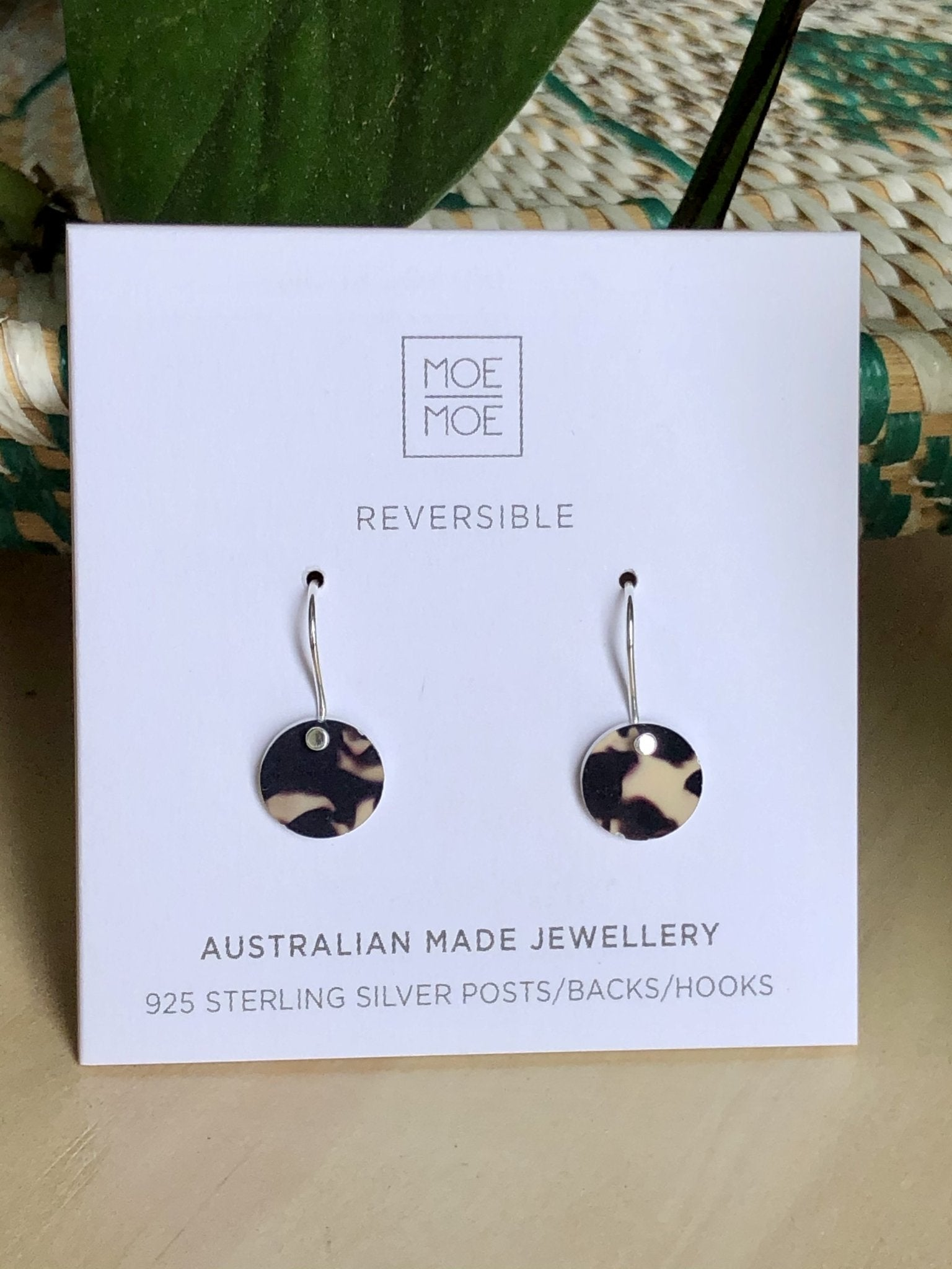 Tortoise Shell Mini Circle Drop Earrings