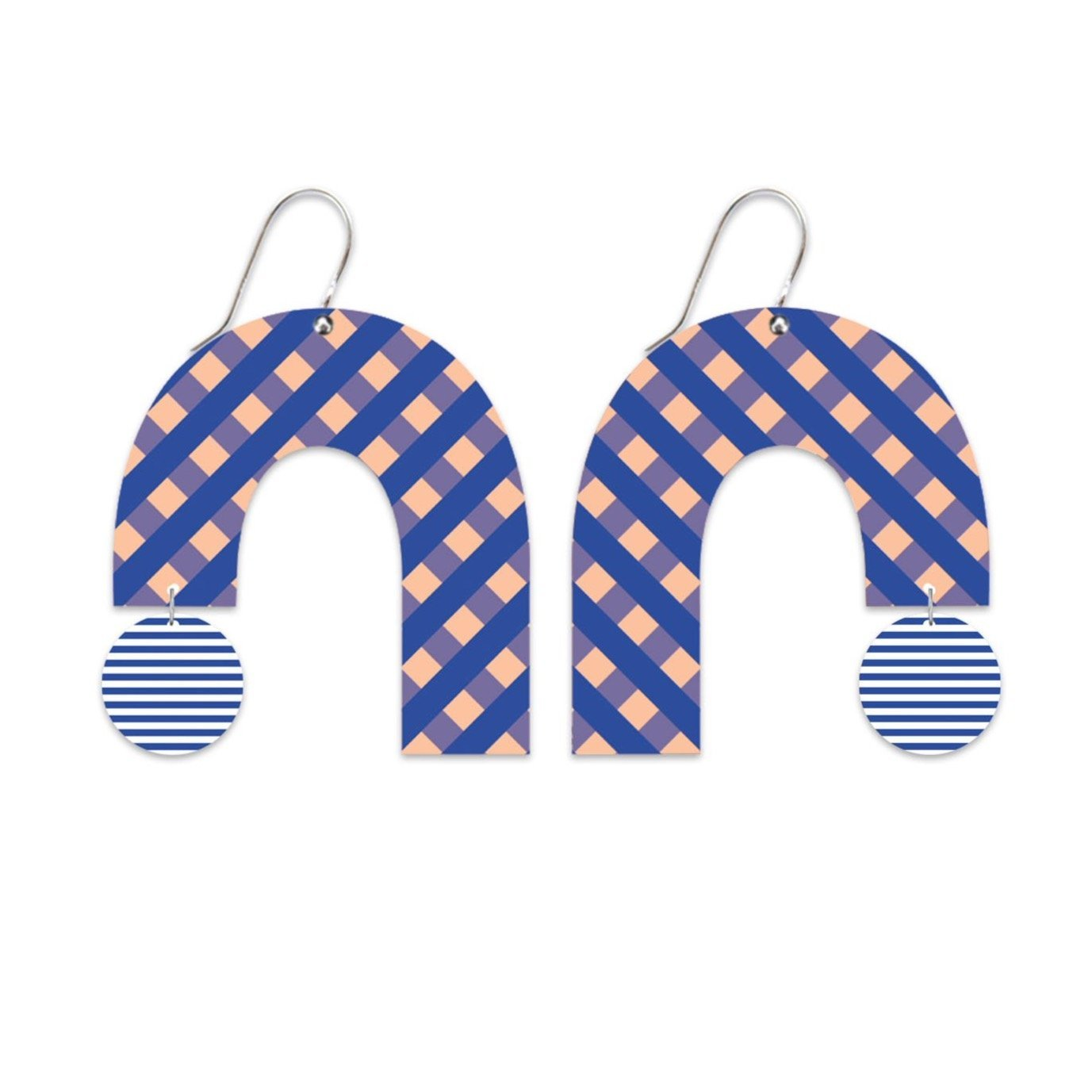 Indigo Striped Gingham Big Rainbow Arch Drop Earrings