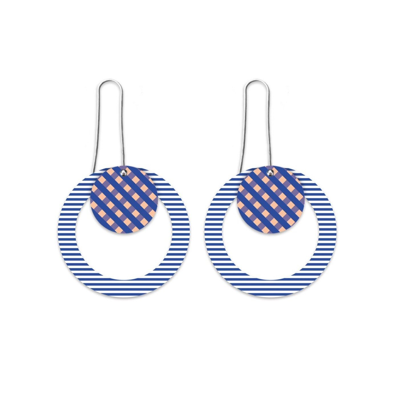 Indigo Striped Gingham Layered Circle Outline Long Drop Earrings