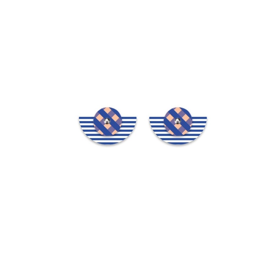 Indigo Striped Gingham Layered Small Moon Stud Earrings