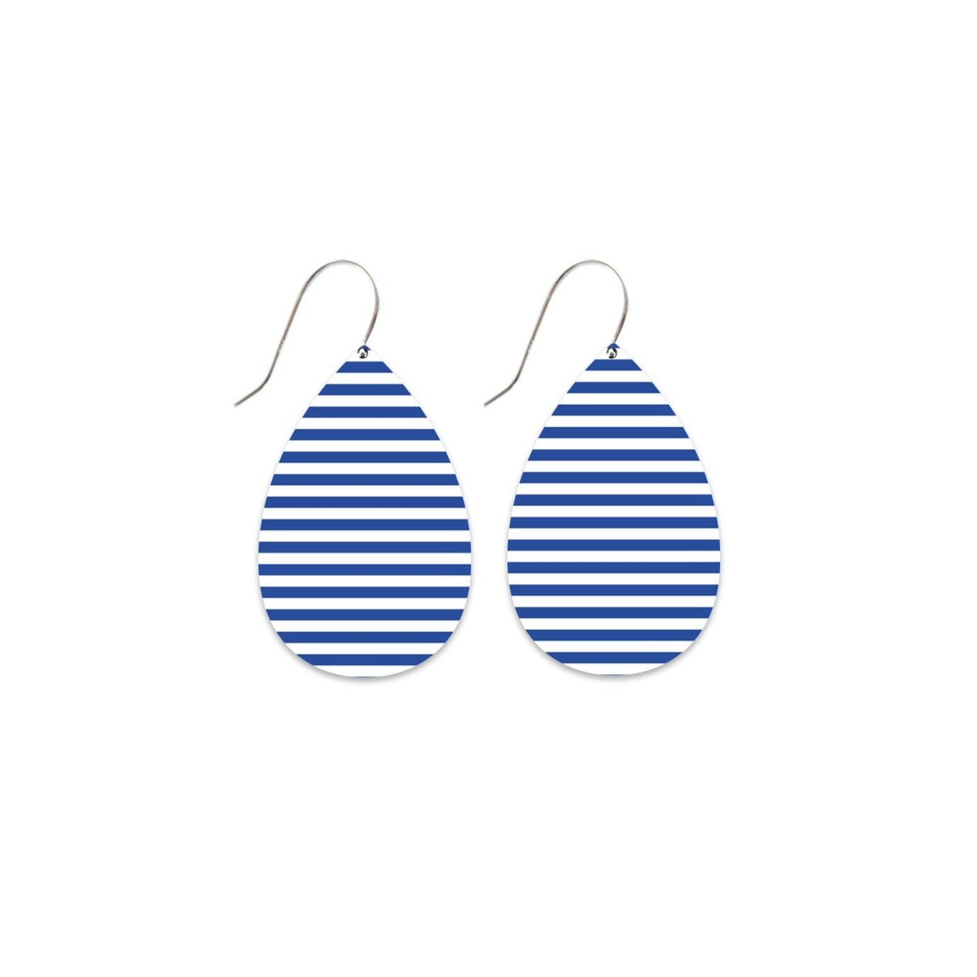 Indigo Stripe Medium Tear Drop Earrings
