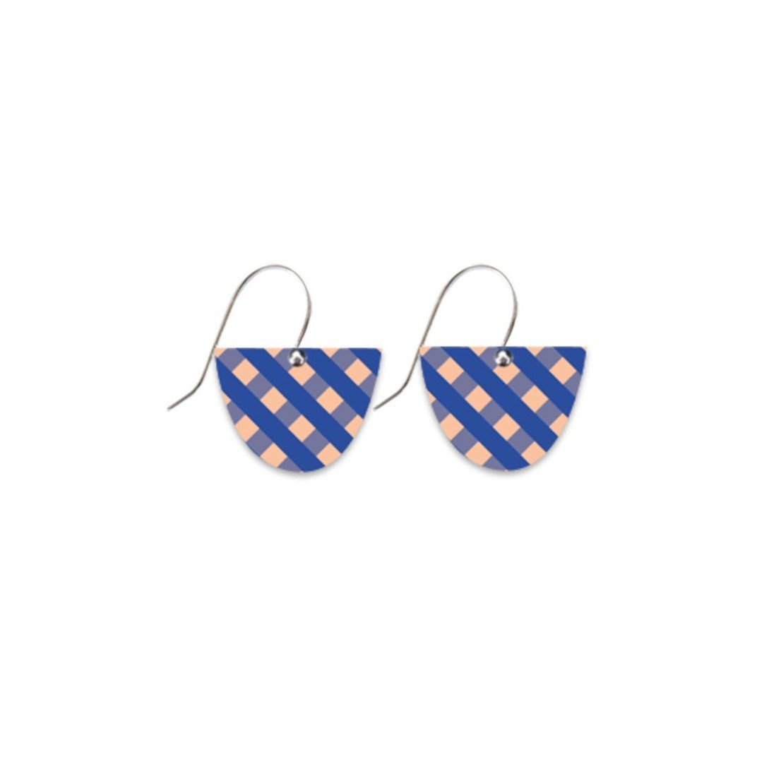 Indigo Gingham Small Bell Drop Earrings