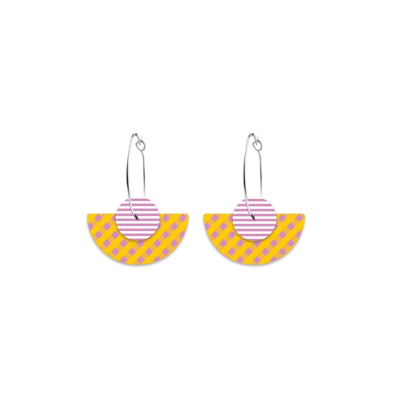 Lilac Striped Gingham Layered Medium Moon Hoop Earrings
