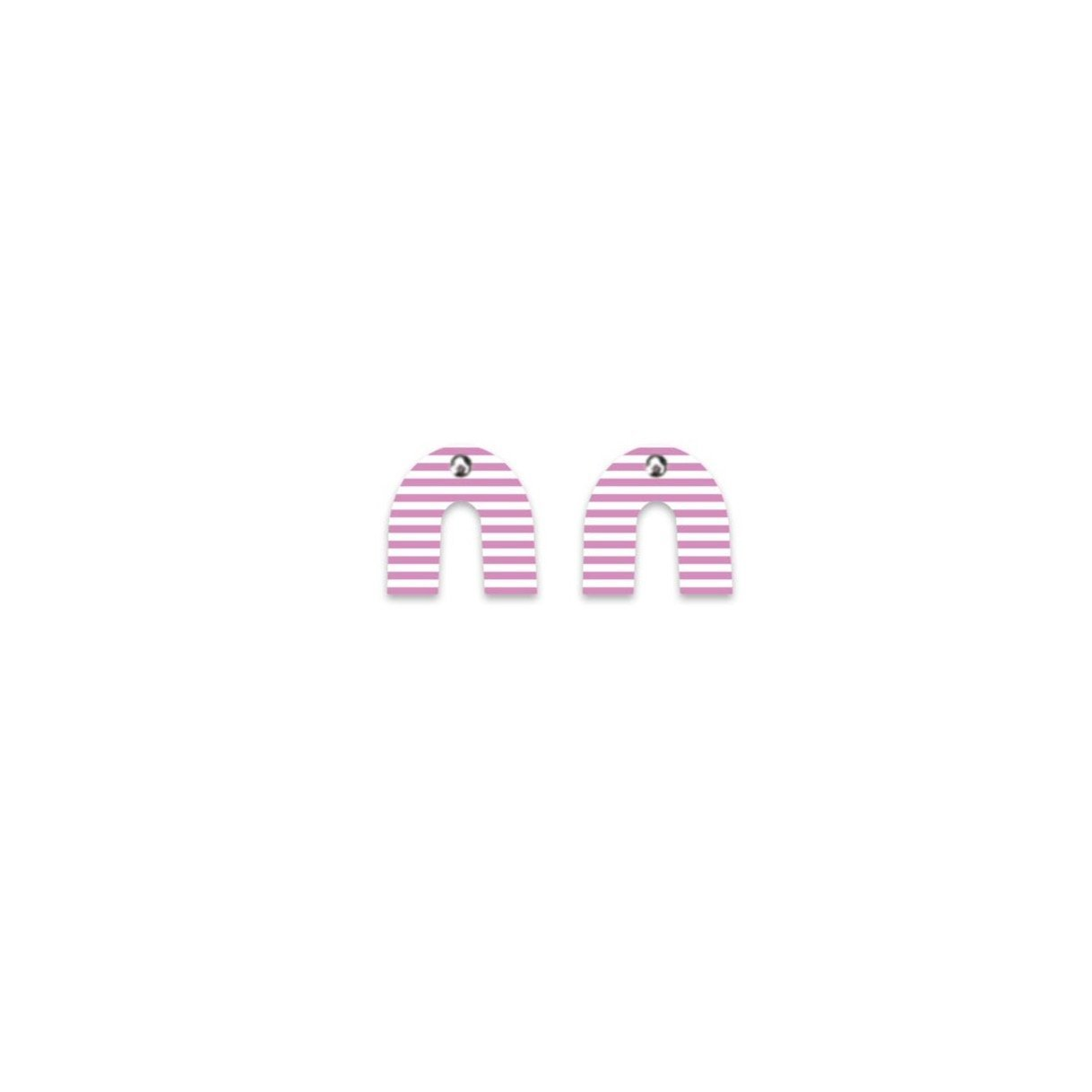 Lilac Stripe Small Rainbow Arch Stud Earrings