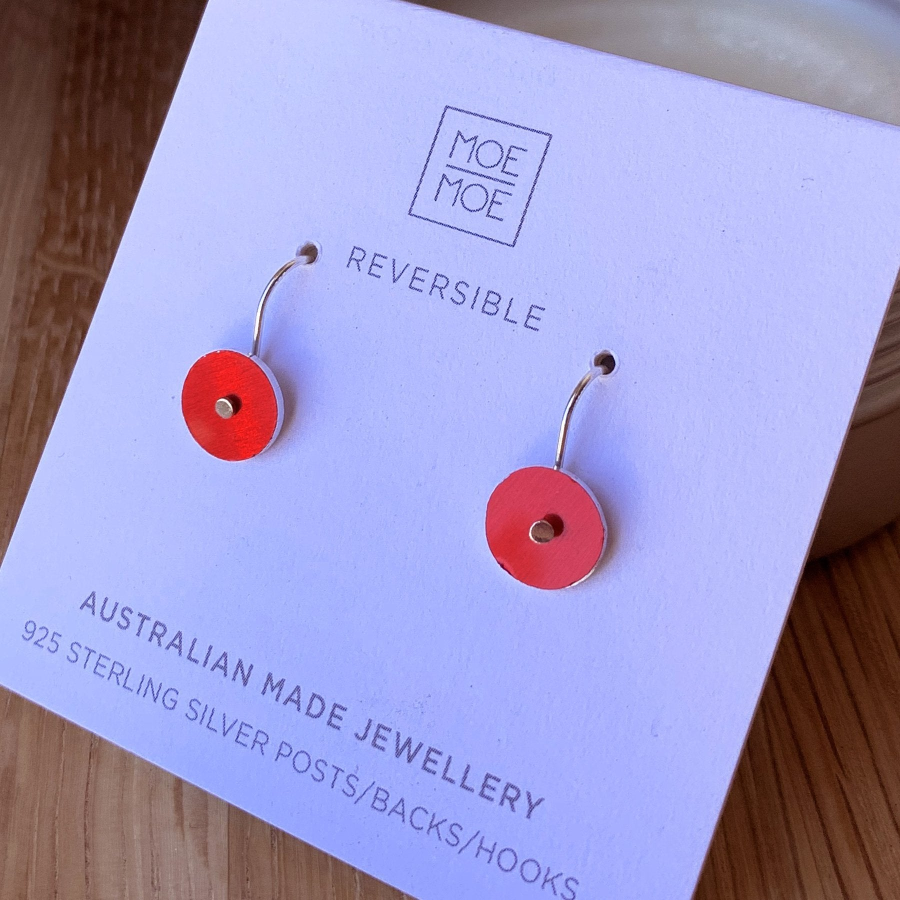 Metallic Coral Mini Circle Drop Earrings