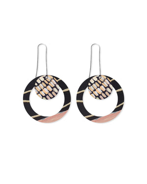 Community Miimi and Jiinda Layered Circle Outline Long Drop Earrings