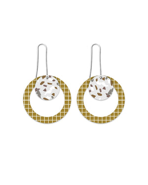 Neutral Tones Terrazzo Grid Layered Circle Outline Long Drop Earrings