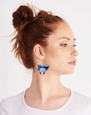 Reversible Sky Joan Statement Long Drop Earrings
