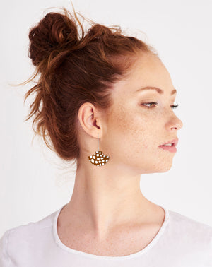 Speckles Pattern Pagoda Long Drop Earrings